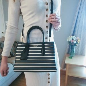 Kate Spade eva stripe small zip top satchel